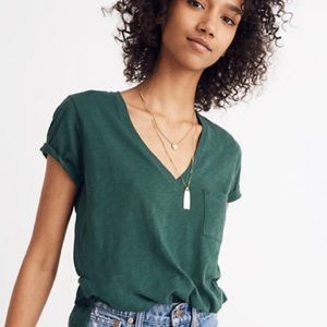 Madewell Cotton V-Neck Pocket Tee Green NWT